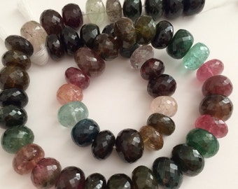 Tourmaline Faceted Rondelles-11mm