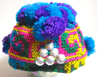 Take 20% Off Infant Crochet Asian Tibet Bright Skull Pomp Pomp Hat