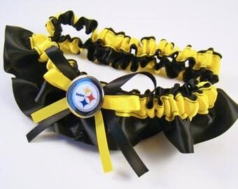 Pittsburgh Steelers Inspired Bridal Satin Wedding Garter Black & Yellow Keepsake Or Garter SET
