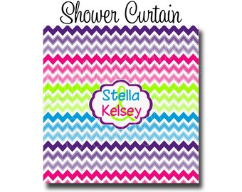 "Custom Personalized Monogram Shower Curtain - You Choose Size , 70"" x 70"", 70"" x 90"", or ANY size Chevron multi"