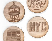 NYC: Laser etched wooden coasters