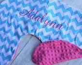 Boppy Pillow Cover- Personalized Boppy Cover- Aqua Chevron and Fuchsia Minky Boppy Cover with Fuchsia Embroidery