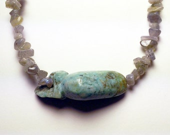 Labradorite and amazonite necklace