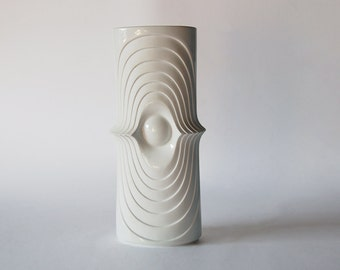 Vintage German Op Art Bisque Swing Vase - KPM