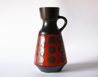 Vintage Rare German Black / Red Vase Circles Pattern - Dumler & Breiden   70s