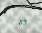 Light Blue Earrings, Modern Jewellery, Crystal Jewelry, Elongated  Earrings, Blue Crystal Earring