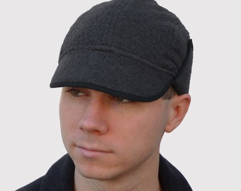 Brainy Explorer Men's Hat, Ranger Cap with Ear Flaps and Visor, Waterproof Facings and Fleece Lining, in Dark Grey Alpaca & Wool Knit