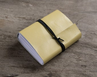 "3x4"" Leather journal, leather notebook, travel journal, travel notebook, leather diary, hand bound blank book leaf closure yellow"