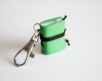 Book keychain, leather keychain, miniature book charm, book lover, literature jewelry, key accessory, men women keychain, leather journal