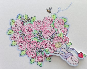 Angel, Roses, Bee, Heart, Love, Romance, Hand Painted, ACEO, Original Art, illustration, Watercolors, Cottage Chic, Nature, Send Love