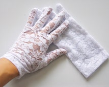 "Sheer Lace Gloves - ""Gracie"" Elegant Full Sheer Lace Gloves"