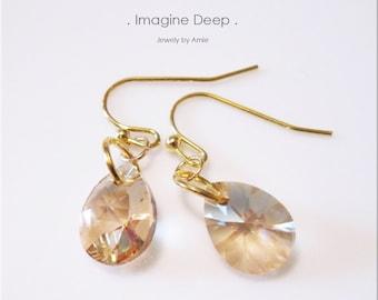 50% off SPECIAL - Dangle Crystal Earrings - Gold Plated Golden Swarovski Crystal Pear Teardrop Earrings