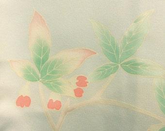 Silvery gray haori with yuzen dyed plants - a vintage silk kimono jacket
