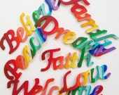Handpainted Wood Sign - rainbow collection Love Faith Peace Dream Family Believe Welcome