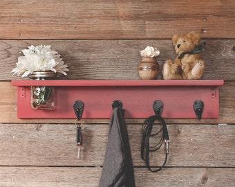 "Country Farmhouse Wooden Shelf with Mason Jar - Entryway Shelf with Hooks -  26"" Wide - 4 Hooks"
