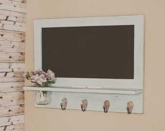 Country Cottage Chalkboard with Shelf and Mason Jar - Distressed Finish