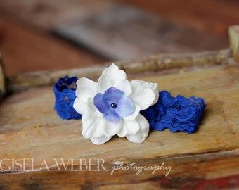 Lace Headband, Baby Headband, Blue Headband, Newborn Headband, Photo Prop, Flower Headband, White Baby Headband