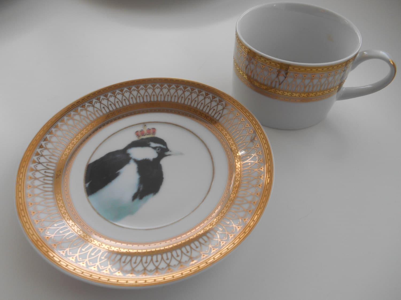 custom order for nadya  three piece bird dinnerware sets -