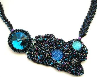 Nebulous - Blue Beadwoven Embroidered Necklace OOAK Asymmetric Black Aqua