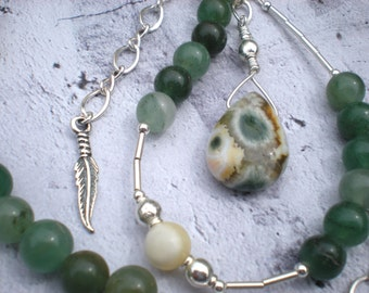 Sage and thyme beaded necklace, ocean jasper, green aventurine, aragonite, feather charm, unique jewelry by Grey Girl Designs on Etsy