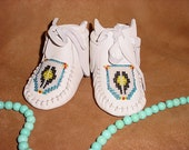 Excellent Hand Made Size 2, White Baby Boots, Deer Skin & Sinew, Made by Jimmy Tatanka Sutton