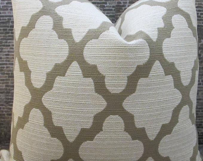 Designer Pillow Cover Lumbar, 16 x 16, 18 x 18, 20 x 20, 22 x 22, 24 x 24, 26 x 26- Lattice Newbury Tan
