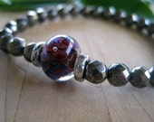 RESERVED for INGE Pyrite Purple bead Glass Bead Sterling Silver Stretch Bracelet