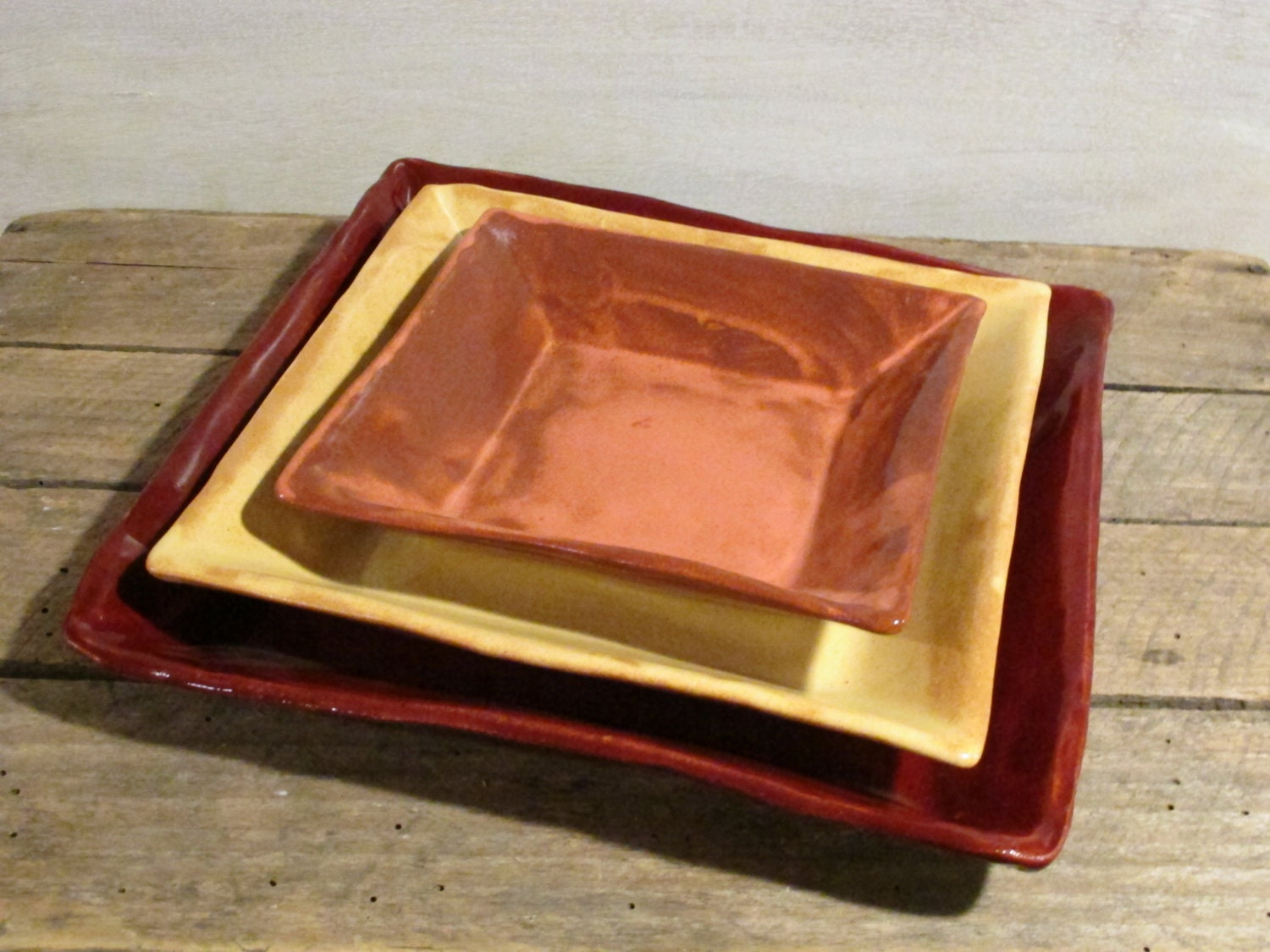 Handmade Ceramic Plate Set Pottery Square Plate Set Of 3