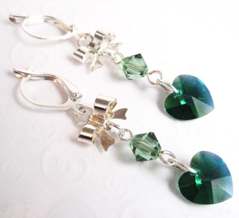 Emerald Green Heart and Bow Earrings Swarovski May Birthstone