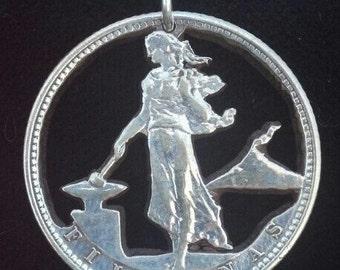 Philippines Silver Blacksmith Cut Coin Pendant