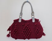BAG // Burgundy Shoulder Bag Crochet Celebrity Style With Genuine Leather Gray Handles - Sudrishta