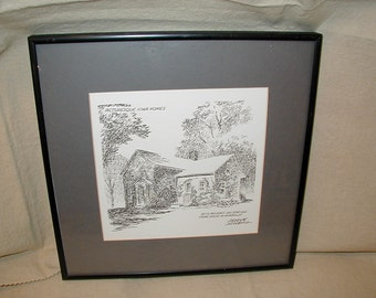 Etching, Frank Miller, Picturesque Iowa Homes, Signed and Framed
