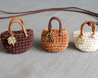 Mini Bag key chain COFFEE BROWN cotton yarn, BICYCLE bronze charm, metal key ring