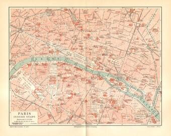1905 Original Antique City Map of Paris, France