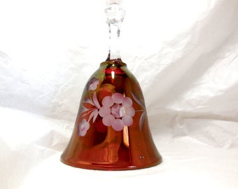 Vintage BELL Cranberry/Clear Glass Etched Flowers Wedding Anniv collectible  Great Gift Home decor