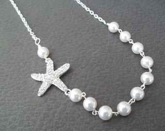 Starfish Bridal Necklace,Rhinestone Starfish Necklace,Swarovski Pearls,Pearl Necklace,Beach Nautical Wedding,Starfish Pearl Necklace
