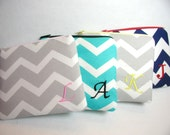 Set of 4 Personalized Bridesmaid Gift - 4 Monogrammed Zippered Pouchs - Makeup Bags - Clutches  - Wallets - Chevron - Design Your Own
