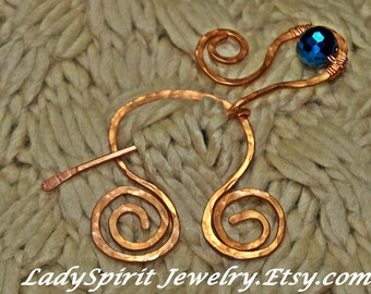 Copperwork Celtic Penannular Shawl or Tartan Pin Accented with Royal Blue Crystal