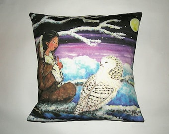 Children's Fairy Tale Pillow  Cover - The Snowy Owl by Christine Mix copyright 2011
