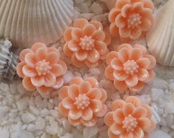 Resin 3D Flower Cabochon - 15mm - 12 pcs - Peach