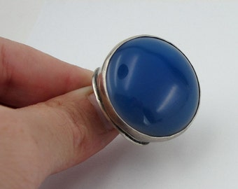 Hadar Jewelry Handcrafted massive 925 Sterling Silver Blue Agate Ring size 8.5 (H186)