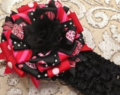 Large Valentine Black Animal Print, Pink & Red ribbon hairclip