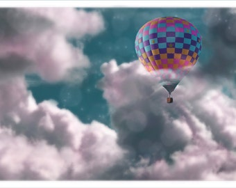 hot air balloon photography, pastel clouds, night sky, starry night, starry sky, dreamy, childrens art,childrens room, pink, robins eggblue,