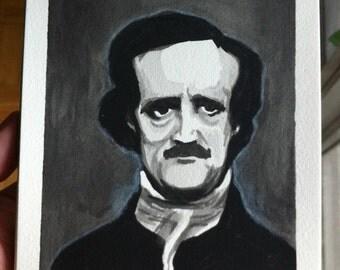 Edgar Allan Poe Watercolor  (ORIGINAL) 5X7