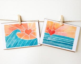 """Wave Art Notecards - Surf Notecards - Set of Eight (3 1/2"""" X 5"""") - Heart Sun - Thank You Cards - Beach Wedding"""