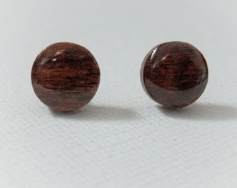 Brown Earrings - Wood Earrings -Brown Studs - Brown Wood Earrings