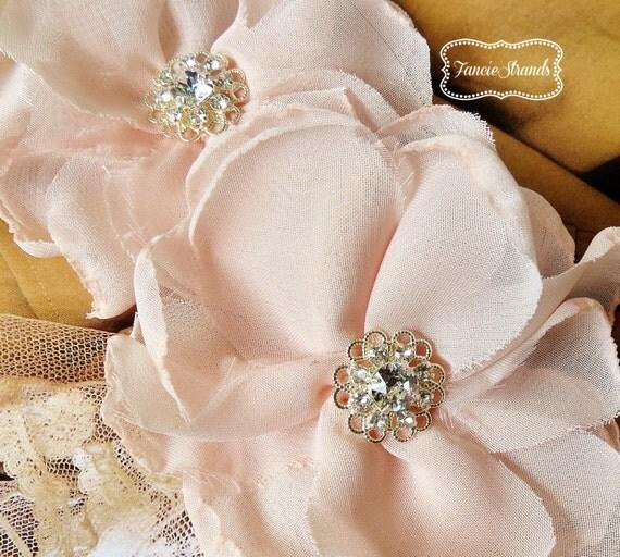 Blush Bridal Hair Flower, Bridal Wedding Headpiece, Hair Flower, Blush Pink, Rhinestone, Hair Flower Clip, Hair Accessories, Set of 2