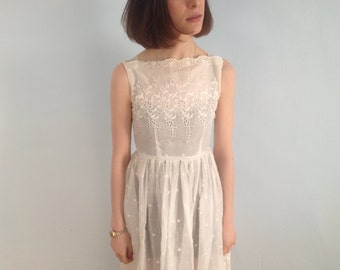 SALE Linen Hand Embroidered White Dress
