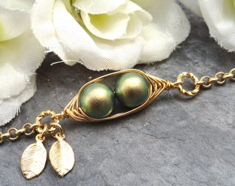Sweet 2 Peas In A Pod Gold  Bracelet 2,3 Or 4 Swarovski Pearls Choose Your Color Or Beads. Ideal Gift For Mom Gr