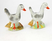 Vintage porcelain duck and duckling figurines vintage goose and gossling figurines made in Japan